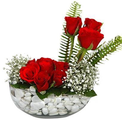 cam içerisinde 9 adet kirmizi gül  Polatlı çiçek siparişi vermek