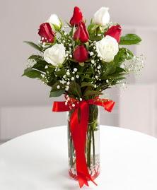 5 kırmızı 4 beyaz gül vazoda  cicekciler , cicek siparisi