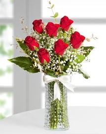 Cam vazoda 7 adet kırmızı gül  Polatlı Ankara çiçek , çiçekçi , çiçekçilik
