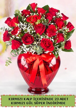 Kırmızı kalp içerisinde 23 adet kırmızı gül  Polatlı çiçek satışı