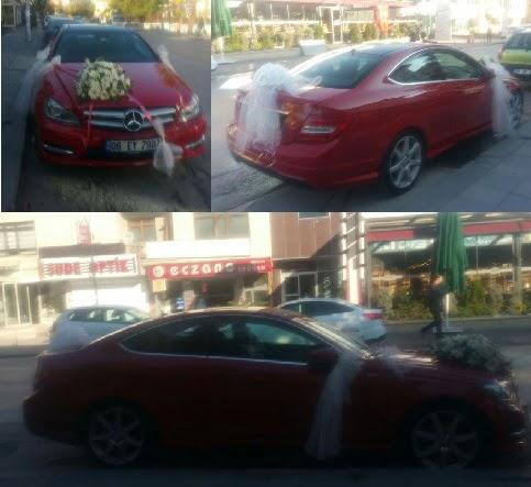 Gelin arabası süslemesi Düğün araba süs  Polatlıya çiçek Ankara çiçekçi telefonları