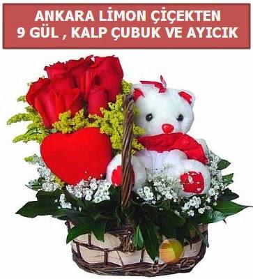 Kalp çubuk sepette 9 gül ve ayıcık  Polatlıya çiçek Ankara çiçekçi telefonları