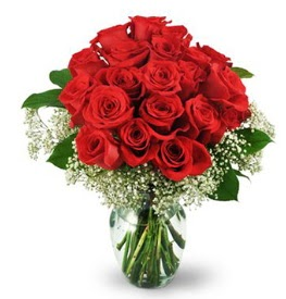 25 adet kırmızı gül cam vazoda  Polatlı Ankara çiçek , çiçekçi , çiçekçilik