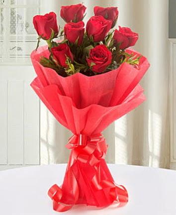 9 adet kırmızı gülden modern buket  Ankara Polatlı İnternetten çiçek siparişi