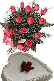 ucuz çiçek gönder  Yas pasta ve özel gül buketi