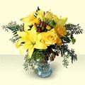 internetten çiçek siparişi  sari güller ve sari lilyum