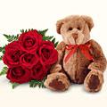 Ankara Polatlı online çiçek gönderme sipariş  5 gül ve orta boy ayicik