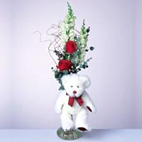 2 adet gül ve panda özel  çiçekçi mağazası