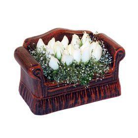 seramik içerisinde 11 gül  Polatlı Ankara hediye çiçek yolla