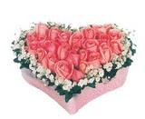 kalp içerisinde 9 adet pembe gül  Polatlı çiçek satışı