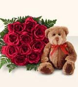 9 adet gül ve oyuncak  Polatlı Ankara çiçek , çiçekçi , çiçekçilik