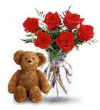 vazoda 6 adet gül ve oyuncak  Polatlı çiçek yolla , çiçek gönder , çiçekçi