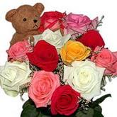 renkli güller ve ayicik   Polatlı hediye sevgilime hediye çiçek