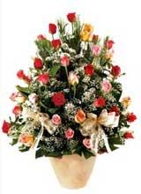 91 adet renkli gül aranjman   Polatlı çiçek gönderme sitemiz güvenlidir