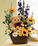 karisik aranjman ve ayicik   Polatlıda çiçek firması çiçek gönderme