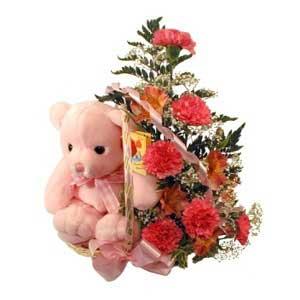 sepette karanfiller ve ayicik   Polatlı Ankara çiçek , çiçekçi , çiçekçilik
