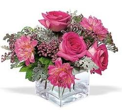 cicekciler , cicek siparisi  cam içerisinde 5 gül 7 gerbera çiçegi