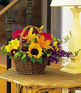 cicekciler , cicek siparisi  karisik sepet içinde mevsimsel çiçekler