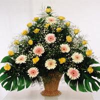 çiçek siparişi sitesi  17 adet sari gül 9 adet gerbera sepette