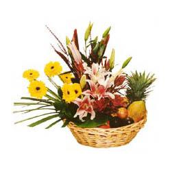 Karisik meyva sepeti ve çiçekler  Polatlı cicek , cicekci
