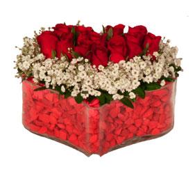 Ankara Polatlı online çiçek gönderme sipariş  Mika kalp içerisinde 9 adet kirmizi gül tanzimi