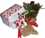 internetten çiçek siparişi  2 adet kalpli kupa ve kirmizi gül buketi