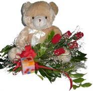 Ankara Polatlı online çiçek gönderme sipariş  5 adet gül , mum ve ayicik sevdiklerinize özel
