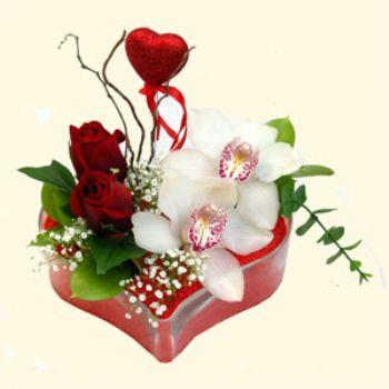 Polatlı hediye sevgilime hediye çiçek  1 kandil orkide 5 adet kirmizi gül mika kalp