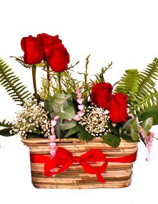 Polatlı uluslararası çiçek gönderme  SEVDIM DIYENLERE Örme sepet 9 adet kirmizi gül