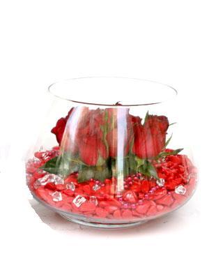 Polatlıya çiçek Ankara çiçekçi telefonları  9 adet kirmizi gül cam fanus içerisinde