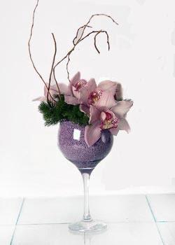 Ankara Polatlı online çiçek gönderme sipariş  cam içerisinde 3 adet kandil orkide