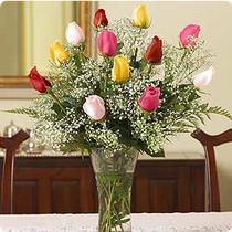 internetten çiçek siparişi  renkli gül 11 adet çiçekçi den cam yada mika vazo tanzimi