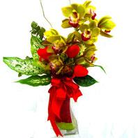 Polatlı uluslararası çiçek gönderme  1 adet dal orkide ve cam yada mika vazo tanzim