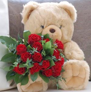 Polatlıdaki çiçekçiler çiçek servisi , çiçekçi adresleri  9 adet kirmizi gül ve orta boy ayicik