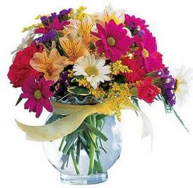Polatlı internetten çiçek satışı  cam yada mika içerisinde karisik mevsim çiçekleri