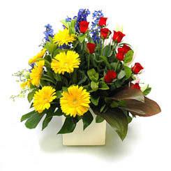 Ankara Polatlı online çiçek gönderme sipariş  9 adet gül ve kir çiçekleri cam yada mika vazoda