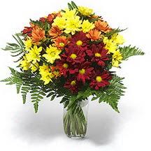 çiçek siparişi sitesi  Karisik çiçeklerden mevsim vazosu