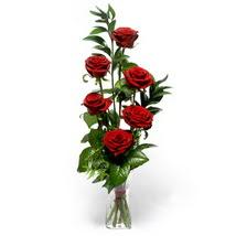çiçek siparişi sitesi  cam yada mika vazo içerisinde 6 adet kirmizi gül
