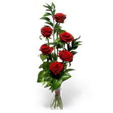 Polatlı uluslararası çiçek gönderme  mika yada cam vazoda 6 adet essiz gül