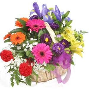 Karisik mevsim çiçekleri sepeti  internetten çiçek siparişi