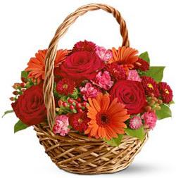 Karisik mevsim çiçeklerinden sepet tanzim  Polatlı internetten çiçek satışı