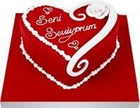 Seni seviyorum yazili kalp yas pasta  Polatlı uluslararası çiçek gönderme
