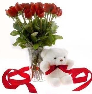 Polatlı çiçek satışı  8 adet kirmizi gül ve pelus ayicik  Polatlı çiçek siparişi vermek