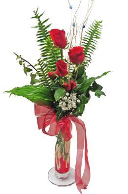 Çiçek gönderin cam vazoda 3 gül çiçekleri çiçek siparişi sitesi