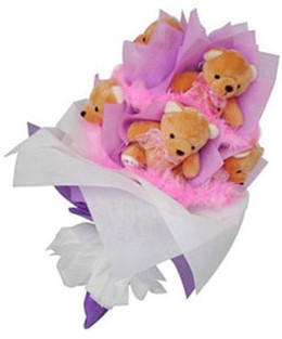 9 adet ayiciktan buket  Polatlı hediye sevgilime hediye çiçek