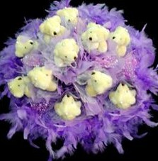 11 adet pelus ayicik buketi  Polatlı Ankara çiçek , çiçekçi , çiçekçilik