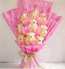 9 adet pelus ayicik buketi  Polatlı anneler günü çiçek yolla