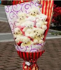 11 adet pelus ayicik buketi  ucuz çiçek gönder