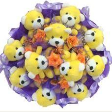 11 adet pelus ayicik buketi  Polatlıya çiçek çiçek mağazası , çiçekçi adresleri