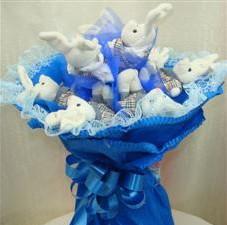 7 adet pelus ayicik buketi  Polatlı Ankara çiçek , çiçekçi , çiçekçilik